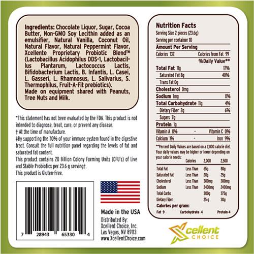 Mint Truffles supplement facts box