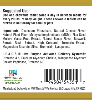 Pet Enzymes Plus Supp Facts Box